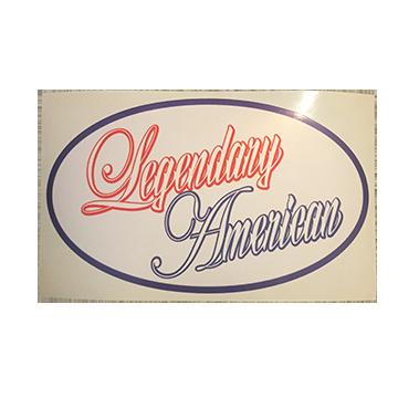 Image of Legendary American Script oval sticker