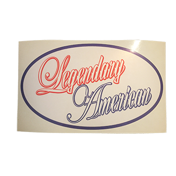 Image of Legendary American Script oval sticker