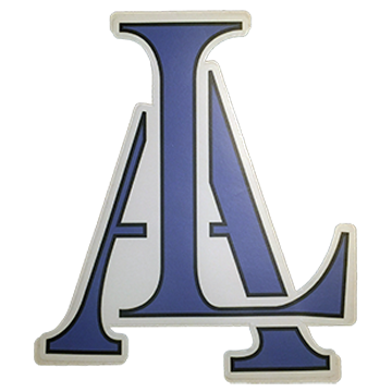 Image of Legendary American LA Logo sticker in blue