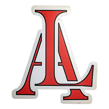 Image of Legendary American LA Logo sticker in red