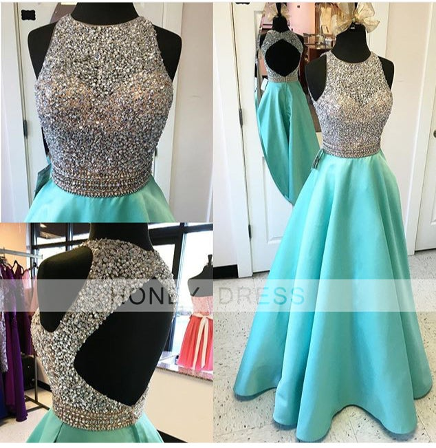 Image of 2016 Mint Satin A line Beaded Sequins Prom Gown With Open Back