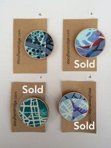 Image of Original Gelli print wooden badges