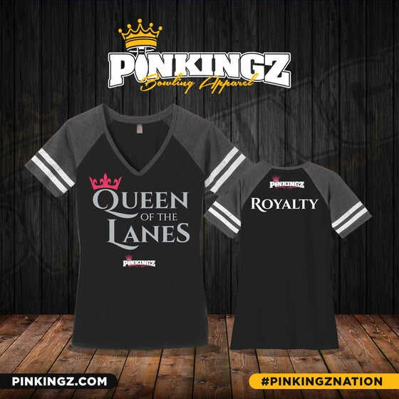 Image of Pinkingz Bowling - Queen of the lanes | Woman's V-Neck | Black w/ Grey and Pink