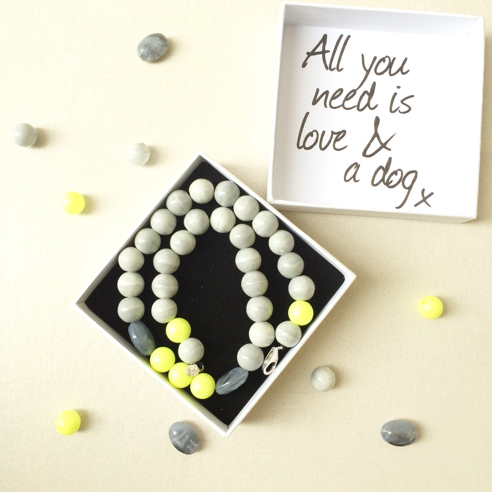 Image of Harper ~ Grey & Neon Yellow Beaded Dog Necklace