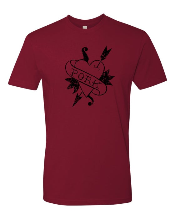 Image of Heart Pork - Unisex T-Shirts - Cardinal or Heavy Metal