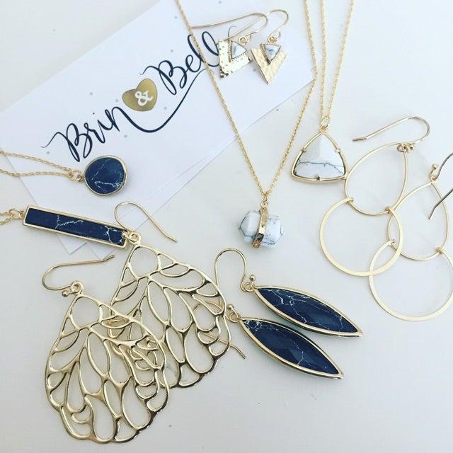 Image of Black Marble Dangle Earrings