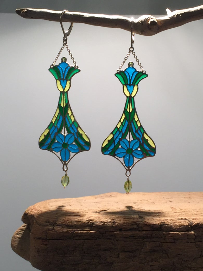 Image of One-of-a-Kind Plique-a-Jour Enameled Earrings