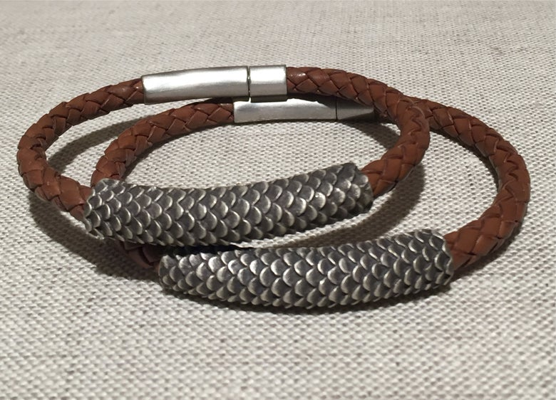 Image of Leather and Sterling Bracelet