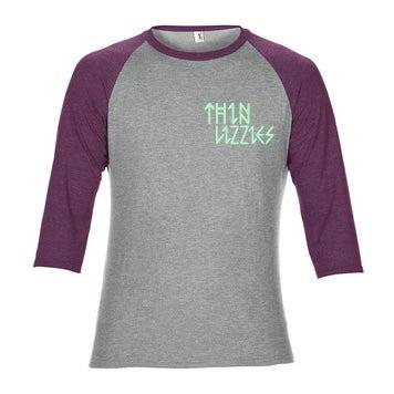 Image of Thin Lizzies Runes Baseball Heather Grey/Aubergine