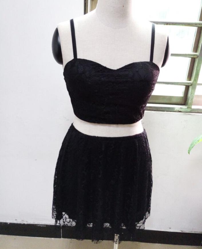 Image of Wipes bosom two-piece v-neck lace dress