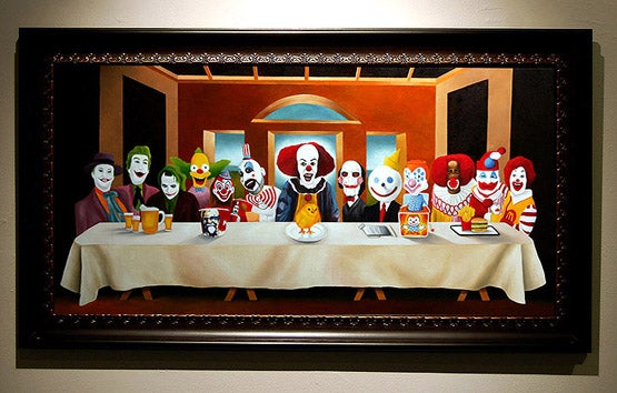 Image of Dark Vomit 'Last Supper for Clowns' wood print
