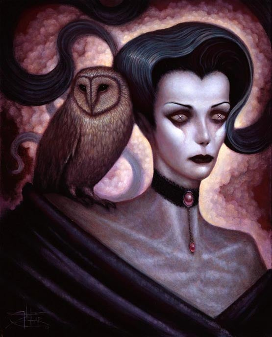 Image of Chet Zar 'Lilith and Her Owl Familiar' giclée print canvas framed