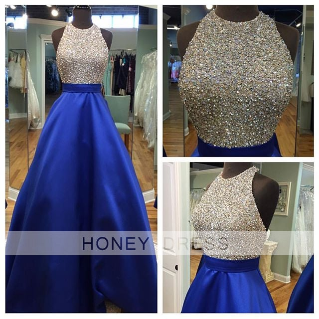 Image of New Arrival Blue Satin Open Back Beaded Sequins Prom Gown With A line