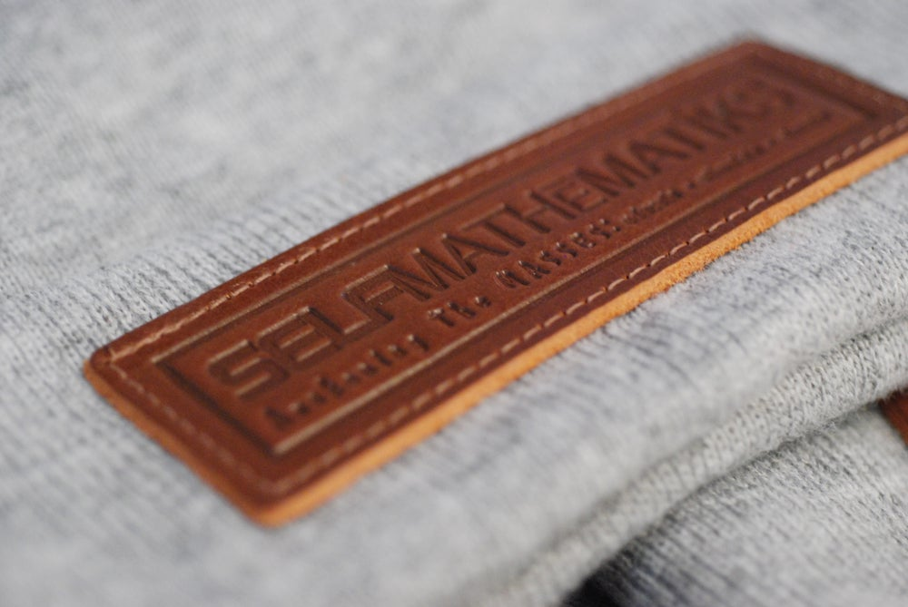 "Image of BROWN ON HEATHER GREY GENUINE LEATHER- ""LUMBER JACK"", THINKIN' CAP"" Skully/Beanie"