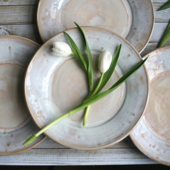 Image of Rustic White and Ocher Stoneware Dinnerware Set of Four Dinner Plates Ready to Ship