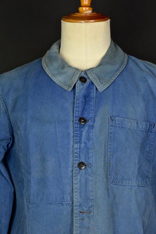 Image of 1950'S FRENCH blue indigo WORK JACKET FADED N13