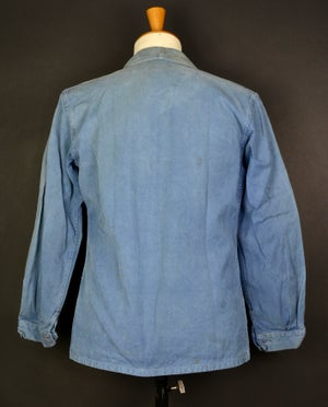 Image of 1950'S FRENCH blue indigo WORK JACKET FADED N13 フレンチコットンワークジャケット