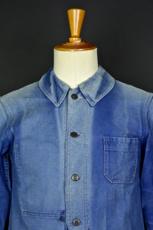 Image of 1940'S FRENCH blue indigo WORK JACKET FADED N19 フレンチコットンワークジャケット