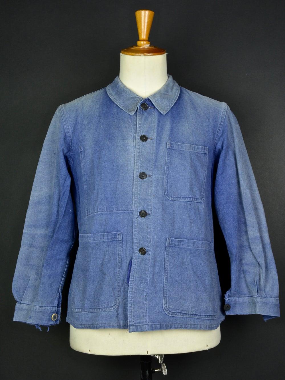 Image of 1950'S FRENCH blue indigo WORK JACKET FADED N27