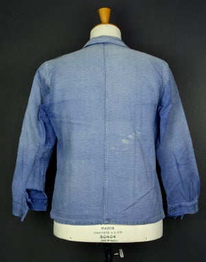 Image of 1950'S FRENCH blue indigo WORK JACKET FADED N27 フレンチコットンワークジャケット