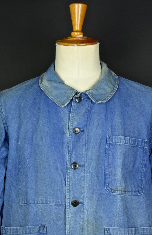 Image of 1950'S FRENCH blue indigo WORK JACKET FADED N32