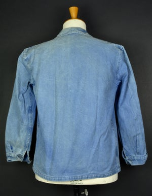 Image of 1950'S FRENCH blue indigo WORK JACKET FADED N32 フレンチコットンワークジャケット