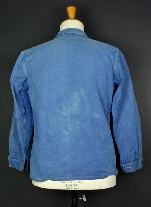 Image of 1950'S FRENCH blue indigo WORK JACKET FADED N36