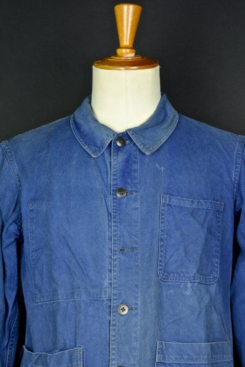 Image of 1950'S FRENCH blue indigo WORK JACKET FADED N37