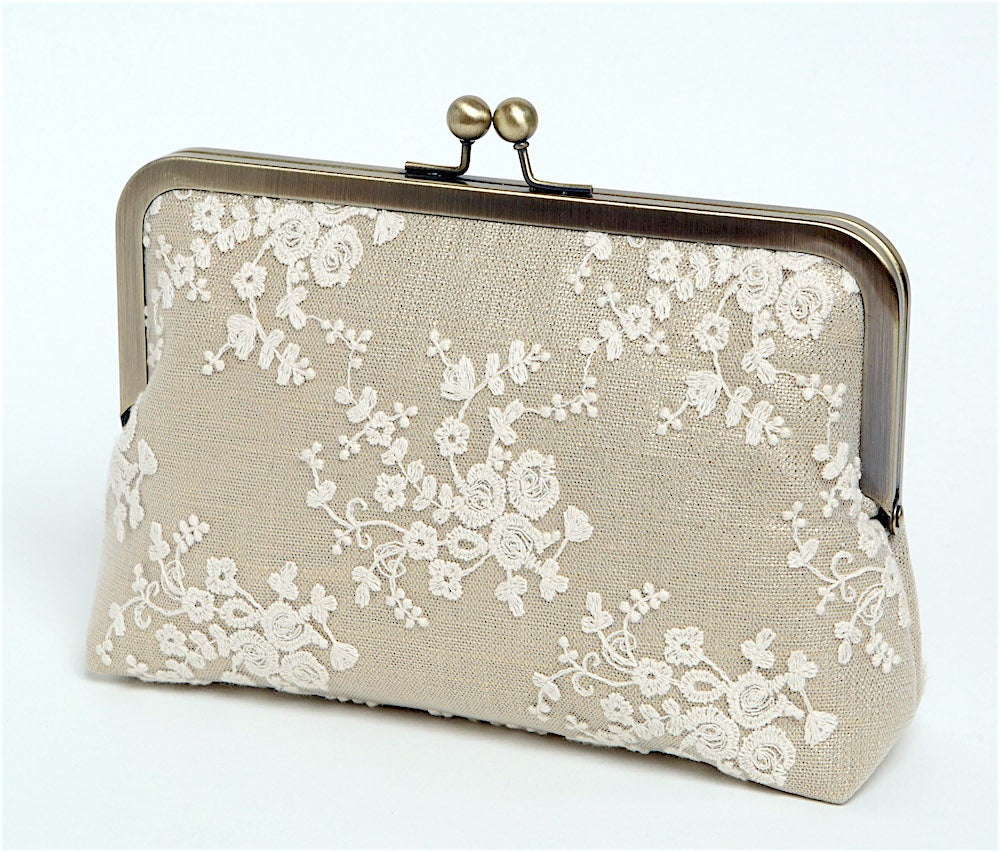 Wedding Clutch: Ivory Lace Clutch, Bridal Clutch, Gold Metallic Linen