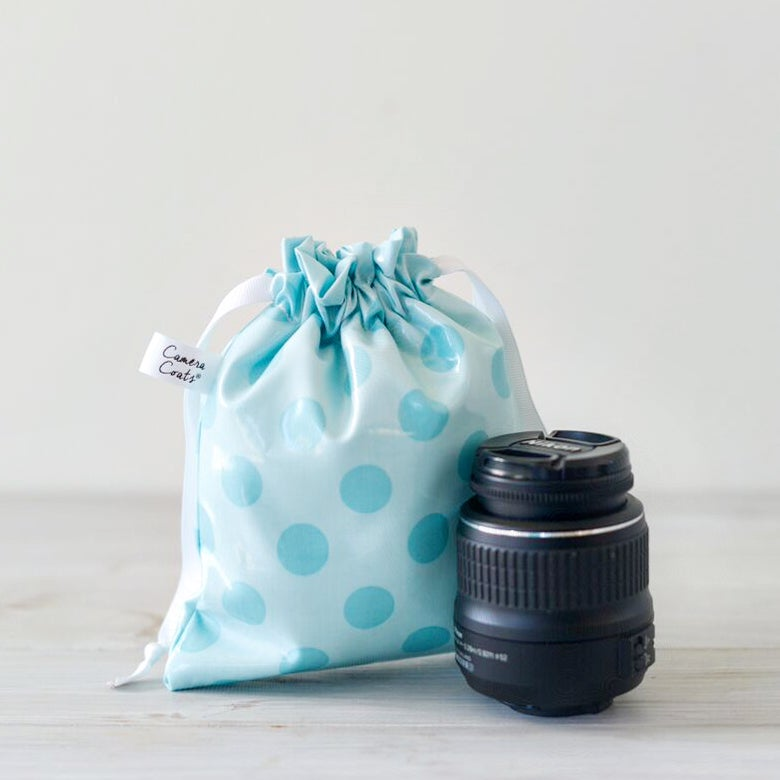 Image of DSLR Camera Bag for Spring Break Travel | Aqua Dots {*Waterproof} Rain Slicky | Great for the Pool
