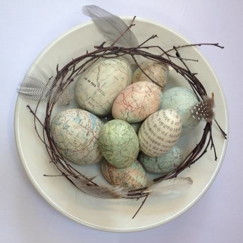 Image of Map Covered Eggs - pastel collections and individual eggs