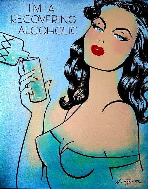 """Image of Niagara """"I'm a Recovering Alcoholic' original art"""