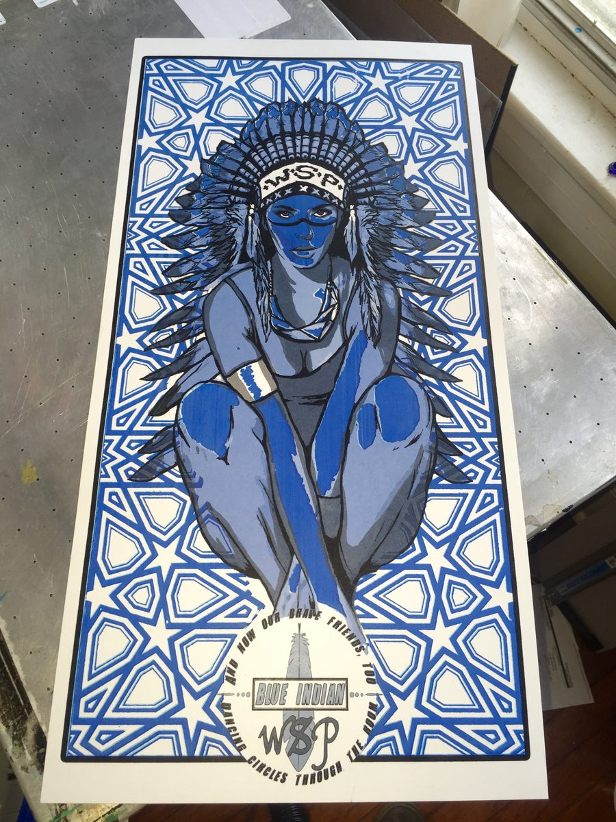 Image of Blue Indian WSP GLOW IN DARK Print