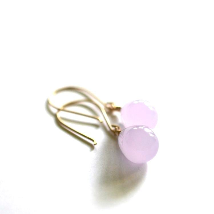 Image of Opaque lavender glass drop earrings