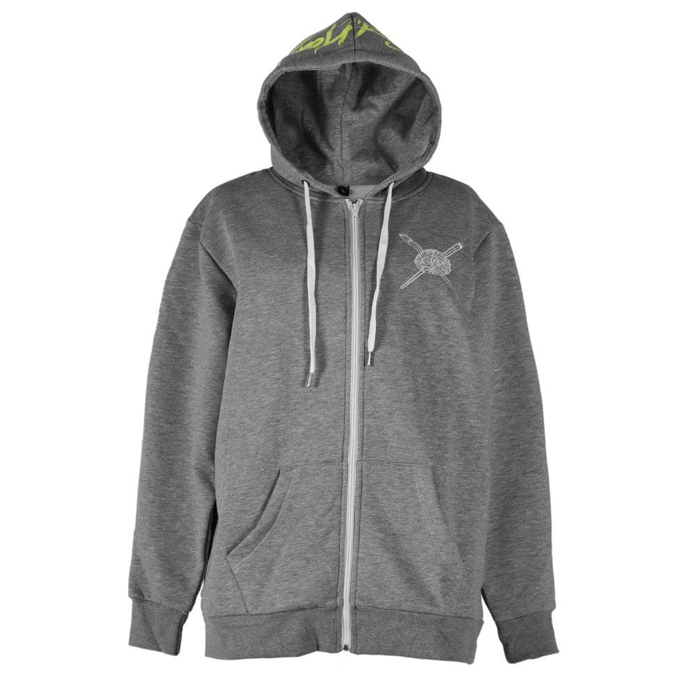 Image of Glow in the dark Medusa Head Zip Up Hoodie (Grey)