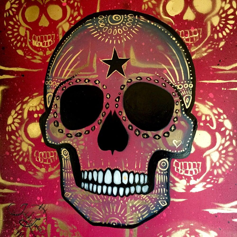 Image of  ☠ Original Pink & Gold Skull Painting  ☠