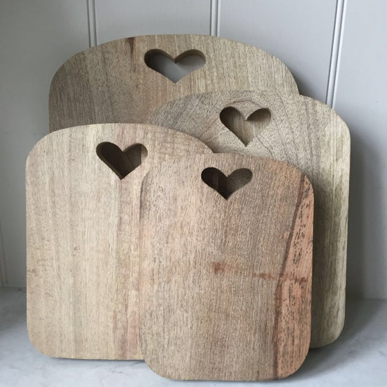 Image of Heart Chopping Board Mango Wood
