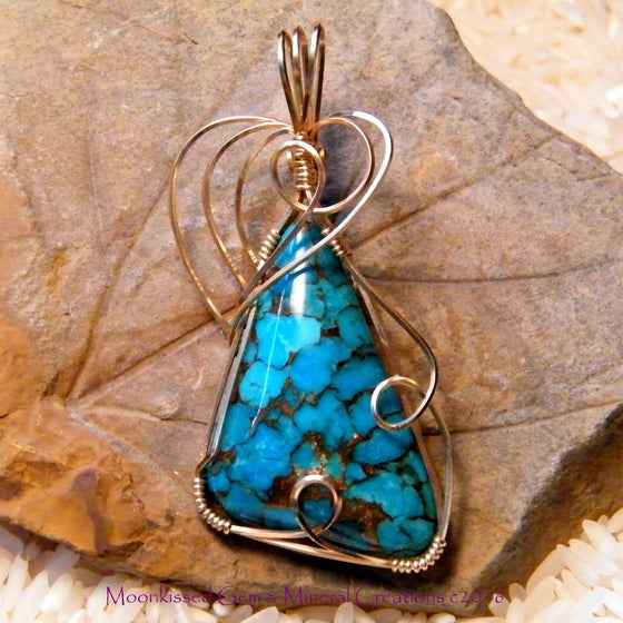 Image of Bronzed Mojave Turquoise 14 Karat Gold Fill Wirewrapped Pendant