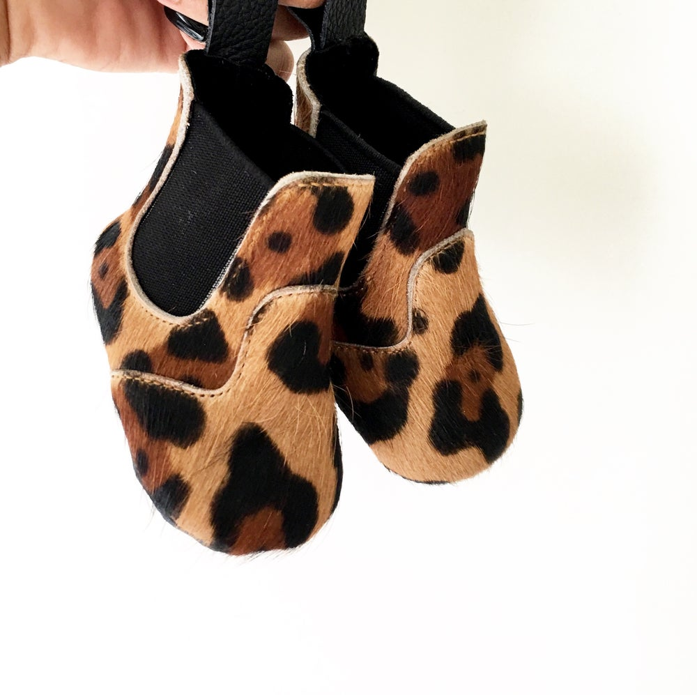 Image of  Leopard Booties - newborn and child