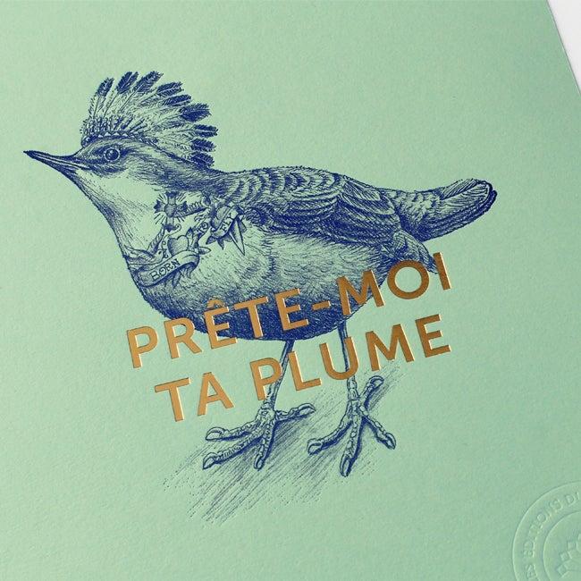 """Image of AFFICHETTE """"PRÊTE-MOI TA PLUME"""" verte"""