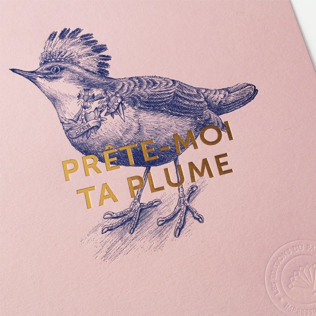 "Image of AFFICHETTE ""PRÊTE-MOI TA PLUME"" rose"