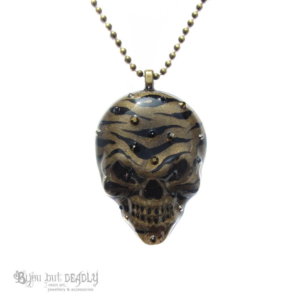 Image of Bronze Zebra Stripe Resin Skull Necklace