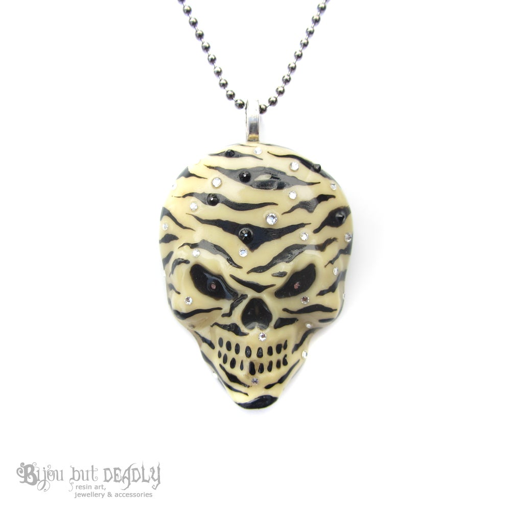 Image of Ivory Zebra Stripe Resin Skull Necklace