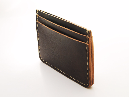 Image of Handmade 5 Pocket Straight Minimalist Leather Wallet Personalized