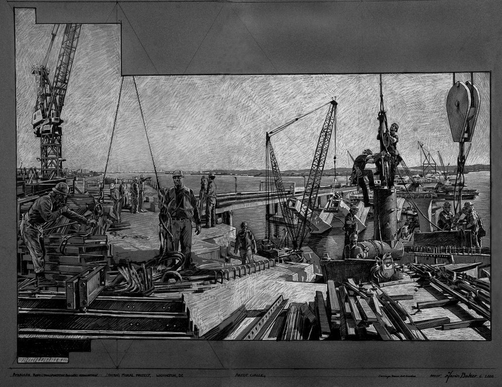 "Image of <font size=""2"">Drawing:</font><br>Building The Wilson Bridge, Washington, DC"