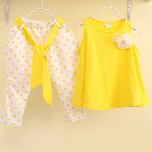 Image of Girls Polka Dot Vest Twin Set (Yellow)