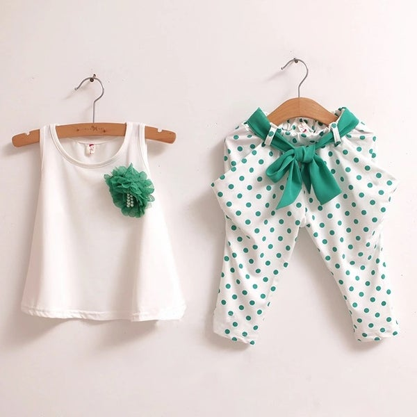 Image of Girls Polka Dot Vest Twin Set (Green)