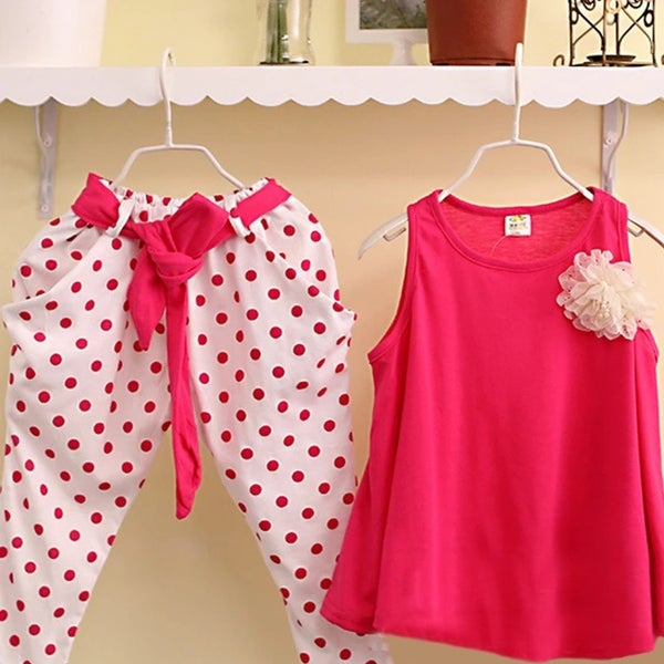 Image of Girls Polka Dot Vest Twin Set (Pink)