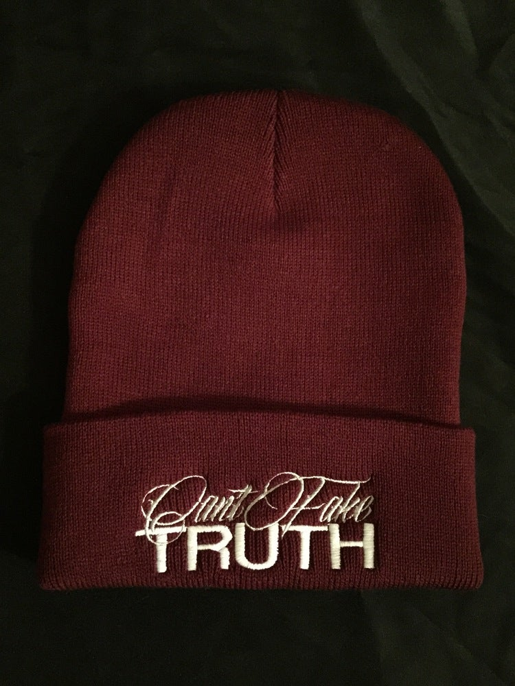 "Image of ""Can't Fake TRUTH"" Beanies (Design colors can be chosen in drop down menu or email)"