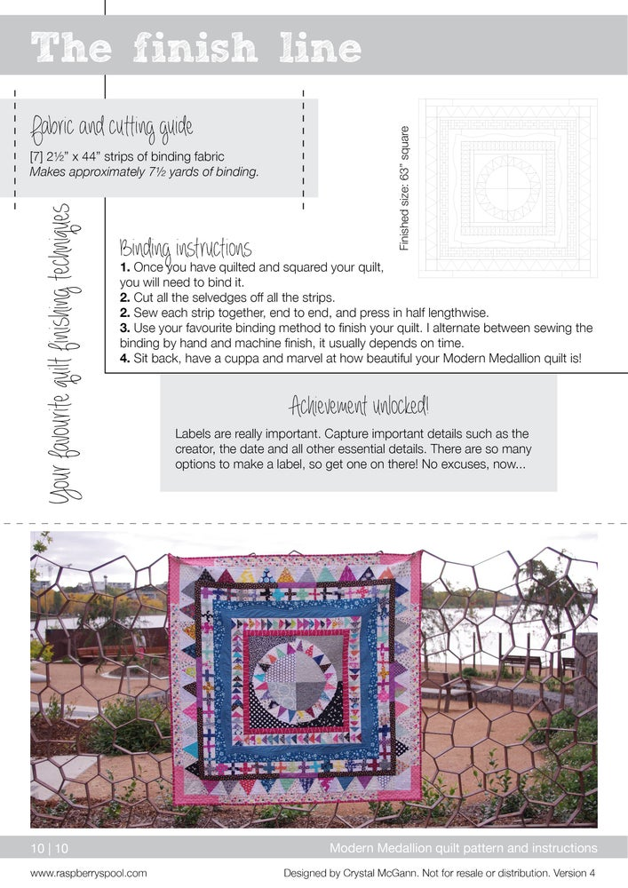 Image of Modern Medallion quilt pattern